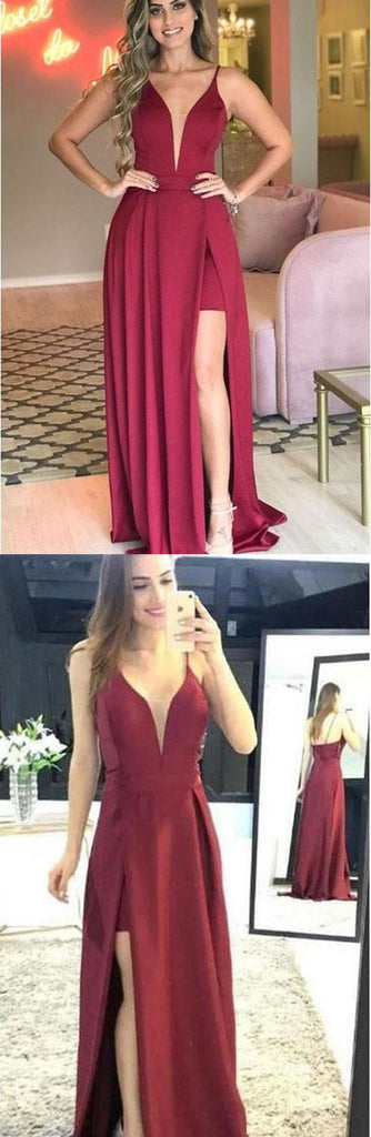 simidress.com offer Simple Sleeveless Deep V-neck Prom Dress with Side Split, Evening Dresses, SP457