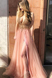 Charming Tulle Deep V-neck Sleeveless A Line Beaded Prom Dresses with Slit, SP458