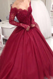 Burgundy Lace Tulle Ball Gown Long Sleeves V-neck Long Prom Dresses, SP459