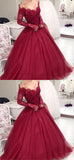 simidress.com offer Burgundy Lace Tulle Ball Gown Long Sleeves V-neck Long Prom Dresses, SP459