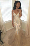 Fabulous Beaded Glitter V-neck Mermaid Tulle Spaghetti Straps Prom Dresses, SP460