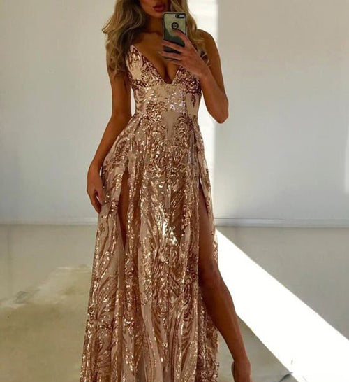 simidress.com offer Fabulous A-line Double Slit V-neck Sleeveless Prom Dresses with Sequins, SP461