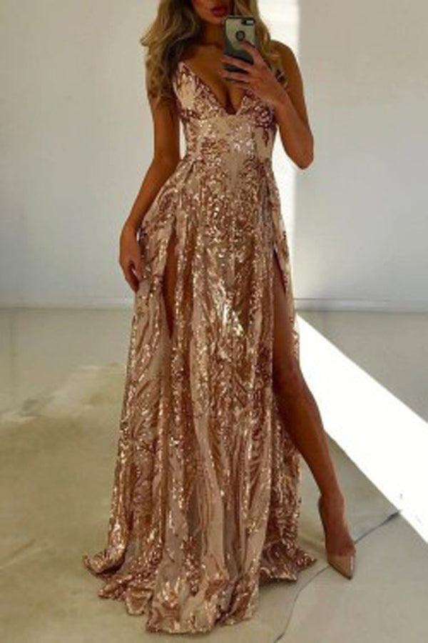 Fabulous A-line Double Slit V-neck Sleeveless Prom Dresses with Sequins, SP461