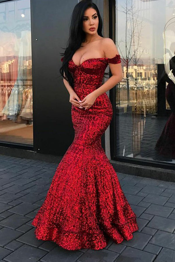 Gorgeous Red Beaded Sequins Mermaid Off-the-shoulder Long Prom Dresses, SP462