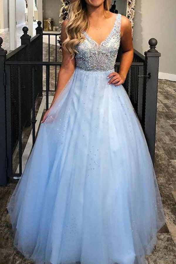 Charming Sky Blue Ball Gown A-line V-neck Beaded Prom Dresses Evening Dress, SP463
