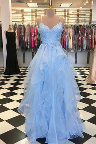 Sky Blue Tulle Spaghetti Straps V-neck Ruffle Skirt Long Prom Dresses, SP464