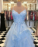 simidress.com offer Sky Blue Tulle Spaghetti Straps V-neck Ruffle Skirt Long Prom Dresses, SP464