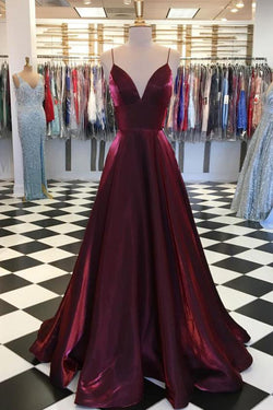 Simple Maroon Spaghetti Straps A-line V Neck Satin Long Prom Dress, SP465