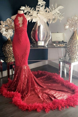 Fabulous Red Lace High-neck Mermaid Long Prom Dresses with Feather, SP467