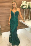Elegant Green Mermaid Spaghetti Straps Beaded Prom Dress with Appliques, SP469
