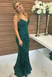 simidress.com offer Elegant Green Mermaid Spaghetti Straps Beaded Prom Dress with Appliques, SP469