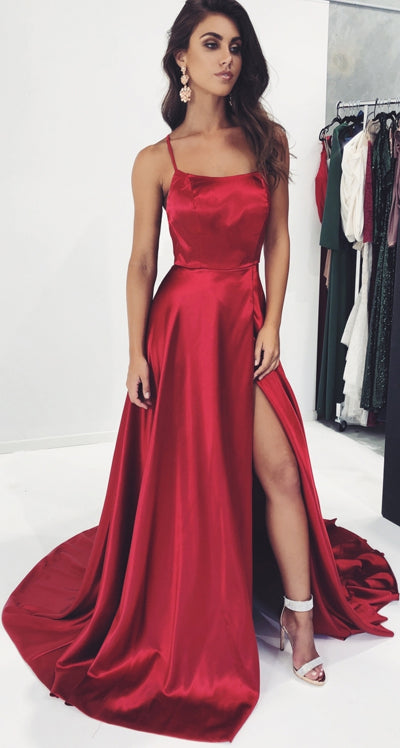 simidress.com offer Simple Burgundy A-Line Spaghetti Straps Prom Dresses with Side-Slit, SP470