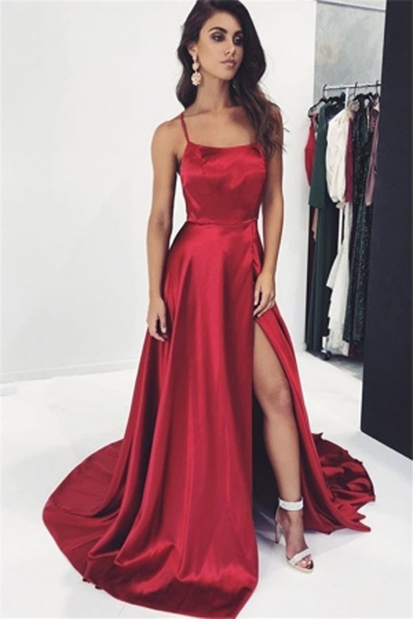 Simple Burgundy A-Line Spaghetti Straps Prom Dresses with Side-Slit, SP470