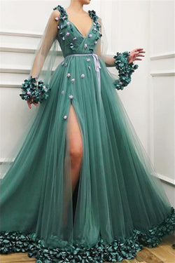 Gorgeous Green A-Line V-Neck Tulle Long Sleeve Side Slit Prom Dresses, SP471