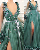 simidress.com offer Gorgeous Green A-Line V-Neck Tulle Long Sleeve Side Slit Prom Dresses, SP471