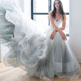 simidress.com offer Charming Spaghetti Straps V-neck Tulle Lace Beach Wedding Dress Prom Dress, SP472