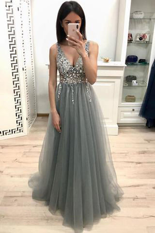 New Arrival Grey A-line Tulle V-neck Beaded Long Prom Dresses With Sequins, SP473