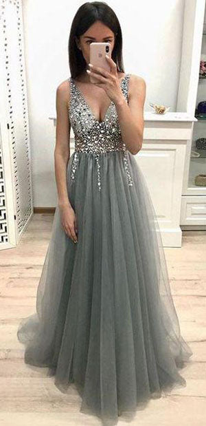 New Arrival Grey A-line Tulle V-neck Beaded Long Prom Dresses With Sequins, SP473|simidress.com