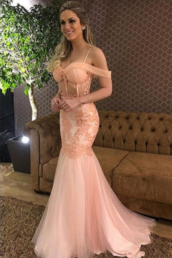 Elegant Pink Tulle Mermaid Off Shoulder Long Prom Dress with Lace Appliques, SP474