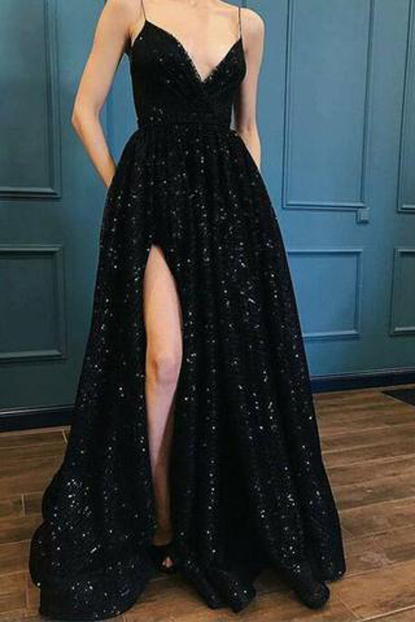 Black Spaghetti Straps Sequins Prom Dress Evening Dresses With Side Slit, SP477
