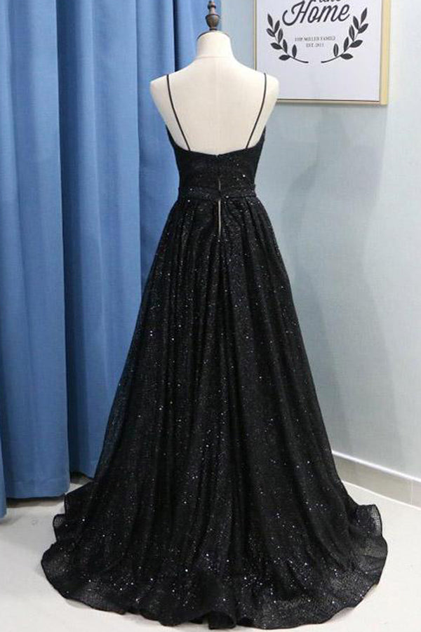 simidress.com offer Black Spaghetti Straps Sequins Prom Dress Evening Dresses With Side Slit, SP477