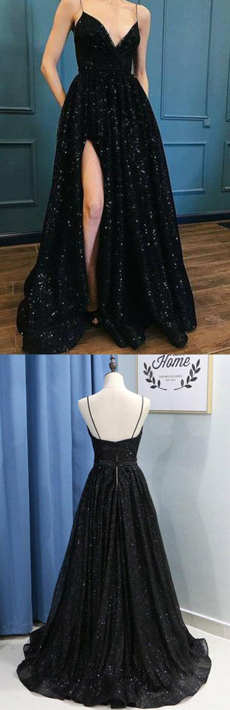 Black Spaghetti Straps Sequins Prom Dress Evening Dresses With Side Slit, SP477|simidress.com