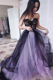 New Arrival A-line Tulle Sweetheart Beaded Long Prom Dresses with Appliques, SP478