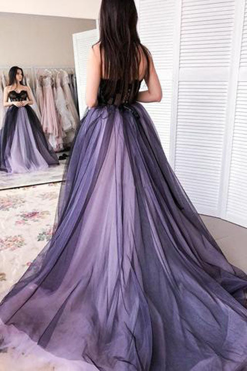 simidress.com offer New Arrival A-line Tulle Sweetheart Beaded Long Prom Dresses with Appliques, SP478