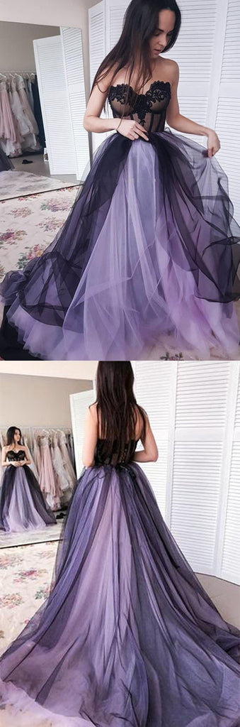 New Arrival A-line Tulle Sweetheart Beaded Long Prom Dresses with Appliques, SP478|simidress.com