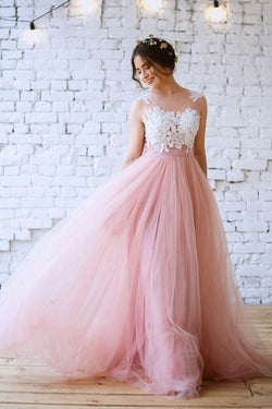 Charming Pink A-line Lace Tulle Prom Dresses Evening Dress with Appliques, SP480