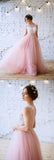 Charming Pink A-line Lace Tulle Prom Dresses Evening Dress with Appliques, SP480|simidress.com