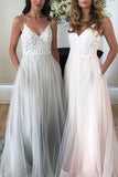 Charming Spaghetti Straps V-neck Tulle Lace Beach Wedding Dress Prom Dress, SP472