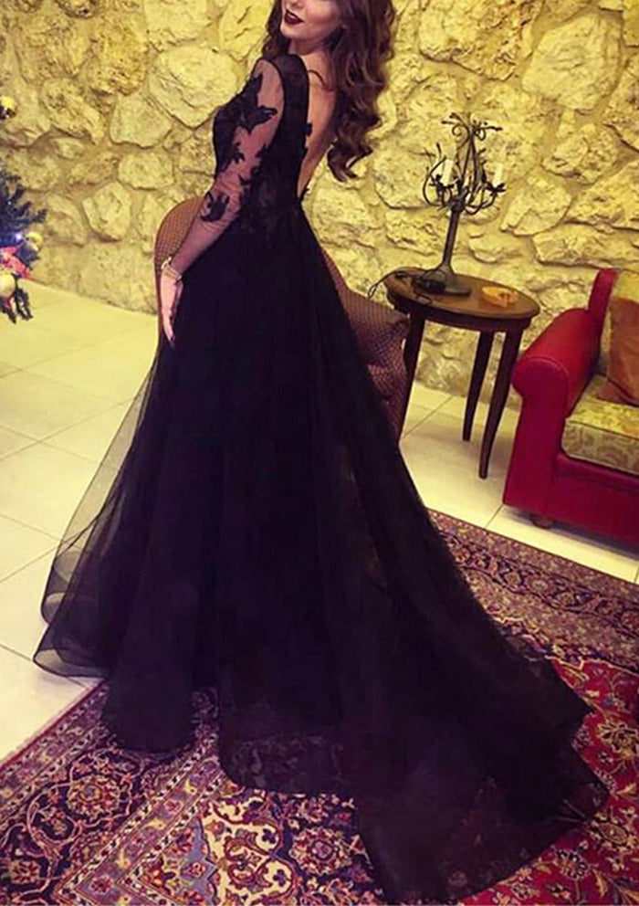 Glamorous Black Tulle Lace Long Sleeve Evening Dresses Prom Dresses with Slit, SP482 | long sleeve prom dresses | black prom dresses | cheap prom dresses | party dresses | formal dresses | evening dresses | prom dresses long | prom dresses online | Simidress