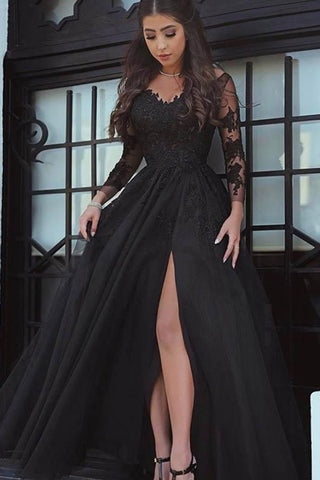 Glamorous Black Tulle Lace Long Sleeve Evening Dresses Prom Dresses with Slit, SP482