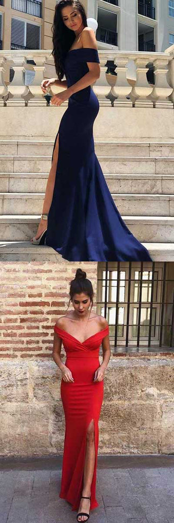 www.simidress.com provide Navy Blue Mermaid Satin Off-the-Shoulder Sweep Train Formal Dresses with Split, SP483