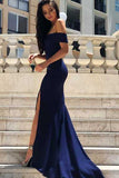 Navy Blue Mermaid Satin Off-the-Shoulder Sweep Train Formal Dresses with Split, SP483