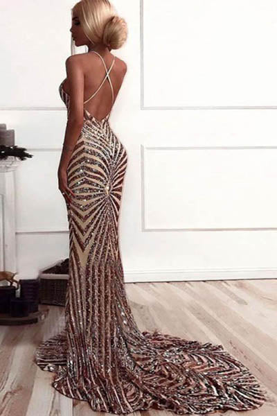 Shining Rose Gold Mermaid V-neck Backless Sequined Sweep Train Prom Dresses, SP484