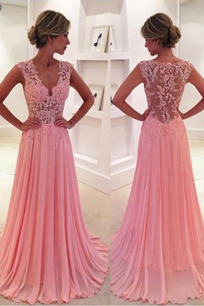 Pink Chiffon A-line V-neck Prom Dress | Evening Dress with Court Train, SP485
