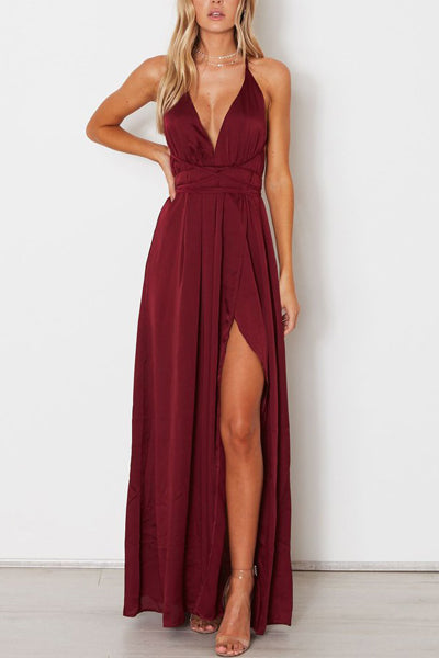 Burgundy Simple A-line V-neck Spaghetti Straps Long Prom Dresses with Slit, SP486