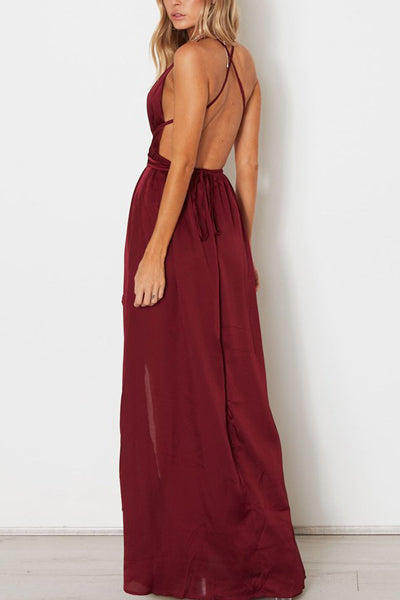 simidress.com | Burgundy Simple A-line V-neck Spaghetti Straps Long Prom Dresses with Slit, SP486
