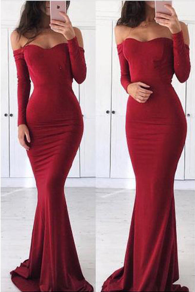 Burgundy Long Sleeve Mermaid Tight Off-the-shoulder Prom Dresses | Evening Dress, SP487