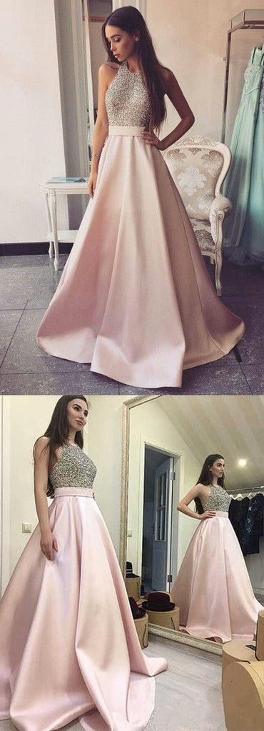 www.simidress.com offer Elegant Beaded Pink Satin Ball Gown Round Neck Open Back Long Prom Dresses, SP488
