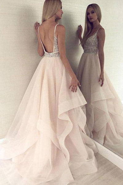 Pink Tulle Beaded Backless Princess Spaghetti Straps V-neck Prom Dresses, SP489