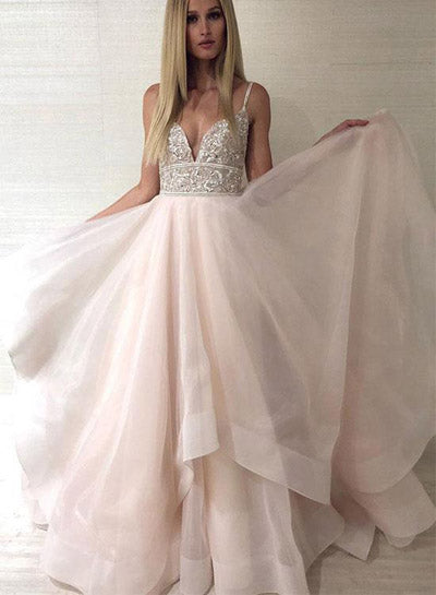 Pink Tulle Beaded Backless Princess Spaghetti Straps V-neck Prom Dresses, SP489 | simidress.com