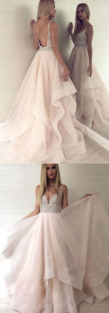 Find Pink Tulle Beaded Backless Princess Spaghetti Straps V-neck Prom Dresses, SP489 at www.simidress.com