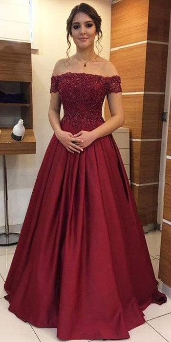 Fashion Satin Beaded Off Shoulder Appliqued Long Prom Dresses | Formal Dress, SP490 | simidress.com
