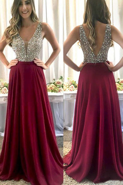 Luxury Burgundy Chiffon Beaded A-line V-neck Floor Length Prom Dresses on line, SP491