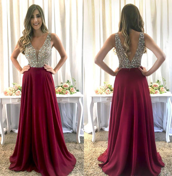 www.simidress.com | Luxury Burgundy Chiffon Beaded A-line V-neck Floor Length Prom Dresses on line, SP491