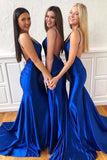 Simple Blue Mermaid V-neck Backless Long Prom Dress, Formal Dresses, SP494
