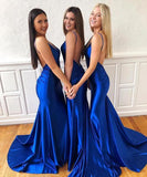 simidress.com | Simple Blue Mermaid V-neck Backless Long Prom Dress, Formal Dresses, SP494